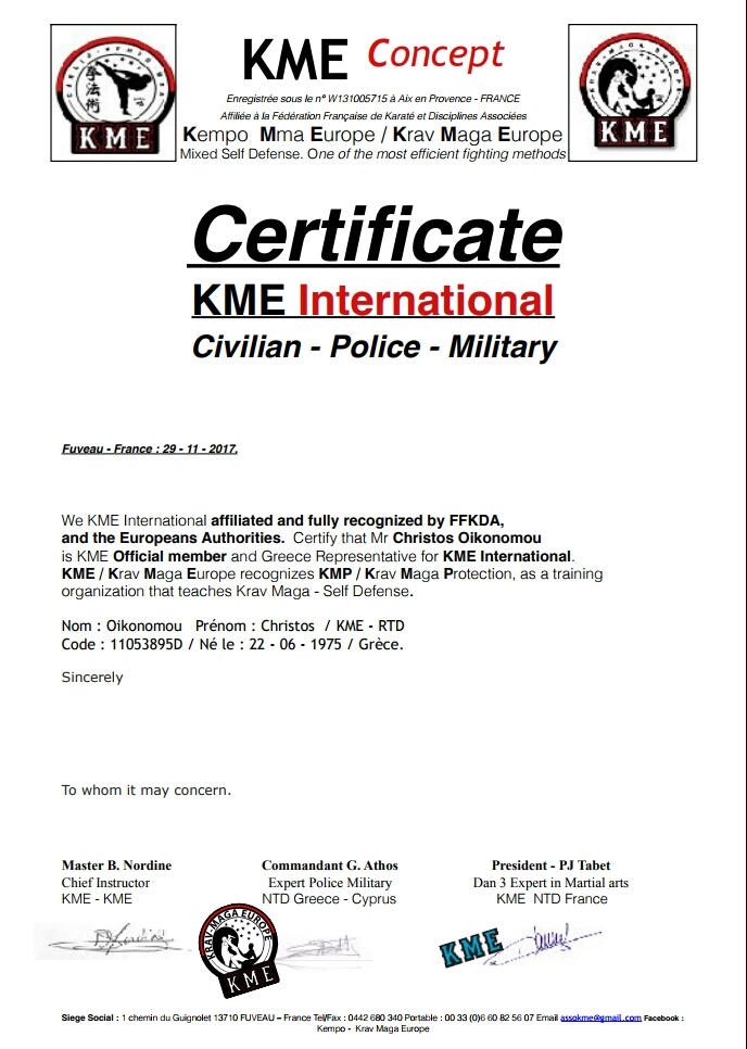 KRAV MAGA KME/KMP INTERNATIONAL